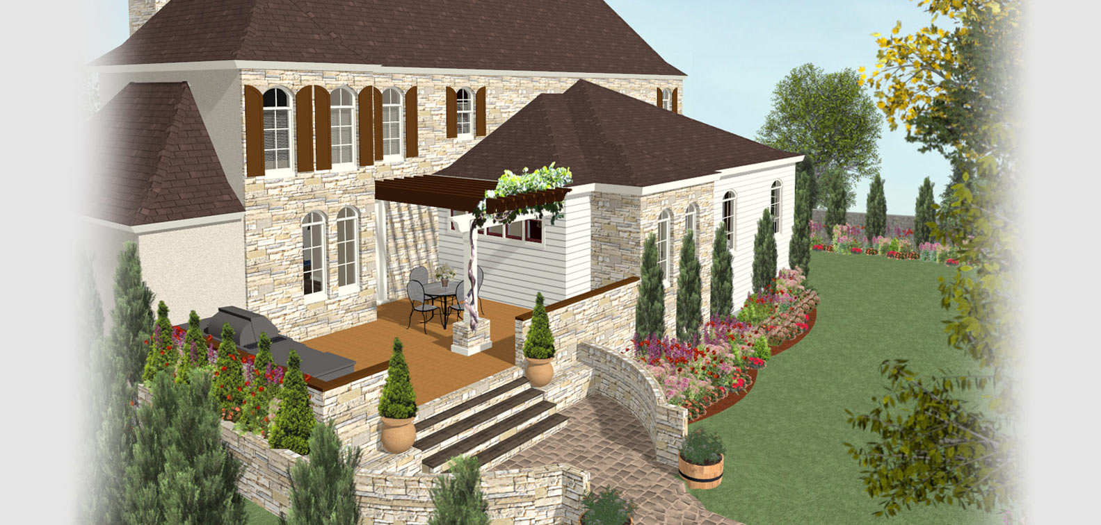 a backyard deck with landscaping - Patio Design Software