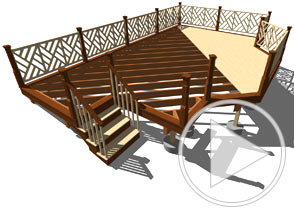 A cutaway of deck planking and framing below it