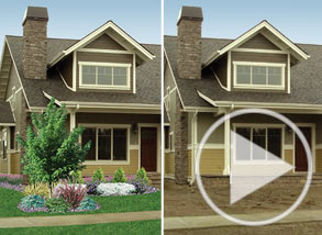 A before and after view of a house with landscaping added