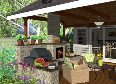 Outdoor kitchen and BBQ - Deck And Landscape Software Home Designer