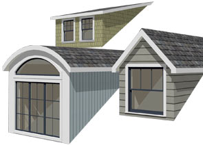 Auto Dormer tool creates barrel dormer, shed dormer, and gable dormer