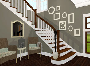 Custom entry stairs with starter tread Home Designer Software for Design  Remodeling projects