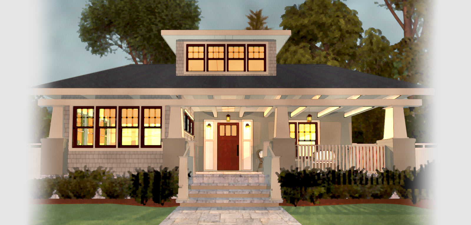 water color rendering of modern craftsman bungalow home designs - Design Dream Homes