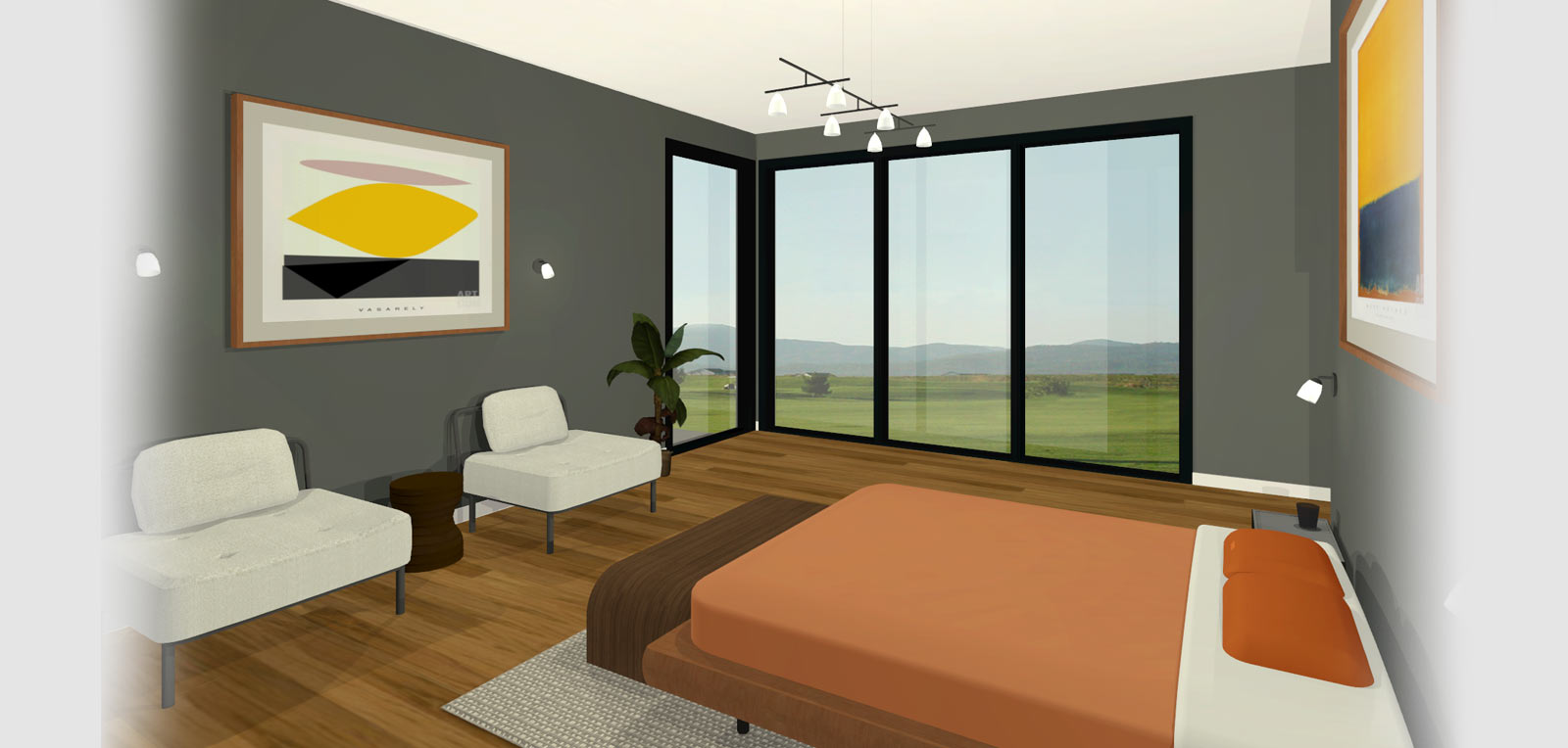 Modern Master Bedroom Design Corner Window