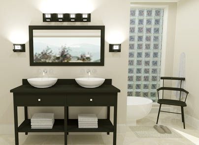 Master Bathroom vanity with lighting and mirror