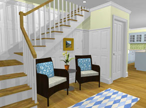 Rendering of chairs in front of stairs