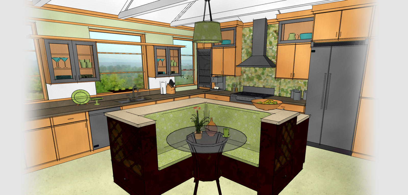 technical drawing of a kitchen generated by home designer - Kitchen Design Home