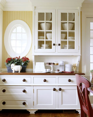 kitchen cabinets with flowers
