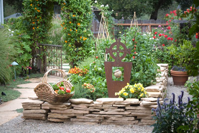 Small Garden Section Surrounded By A Stone Wall