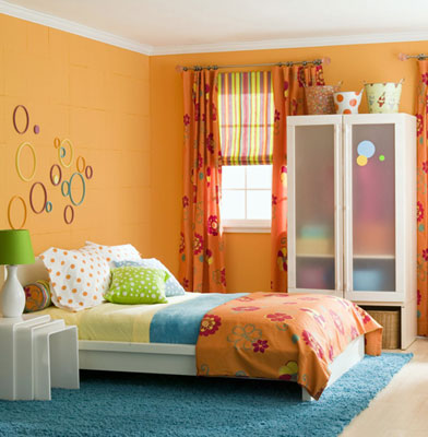 A bright orange themed room