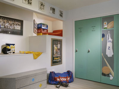 Sports themed room with multiple tiered areas including a hidden reading area