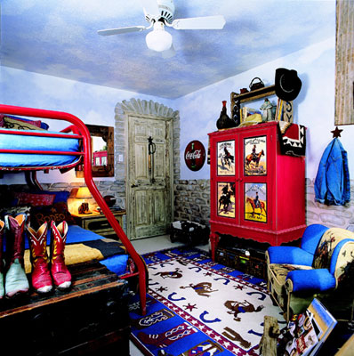 Western themed room with a sky painted on the walls and ceilings