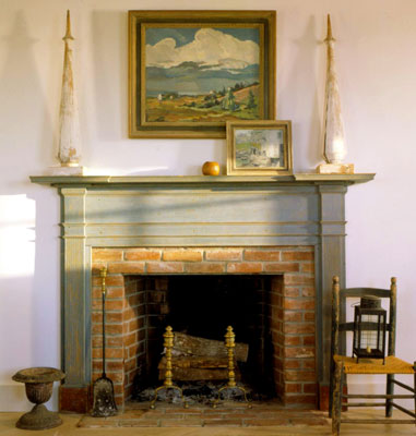 A traditional country style fireplace made out of brick