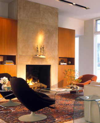 A contemporary living room with a fireplace