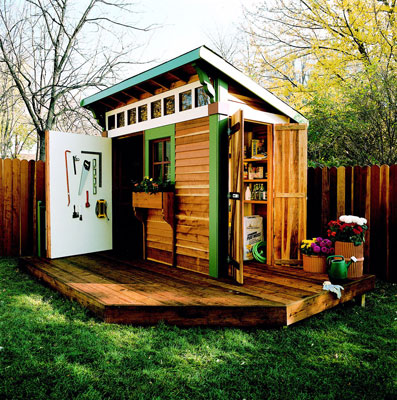 Elegant A Wooden Shed With A Small Deck Design