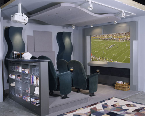 A projector home theater watching a football game