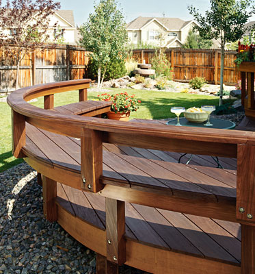 A deck with built in seating around the edge of the deck