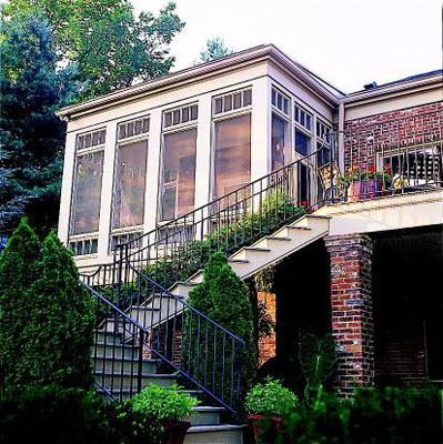 An exterior view of a sun room