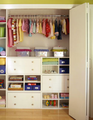 An organized little kids closet