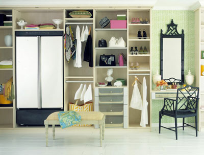 An open shelf walk-in closet
