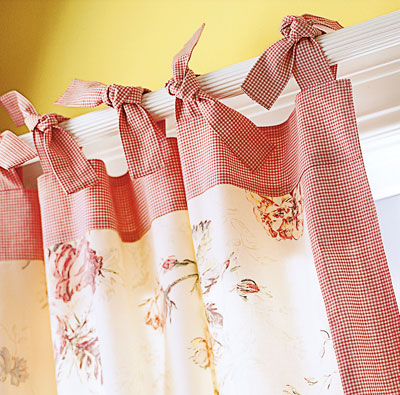 An example of a tie-top curtain