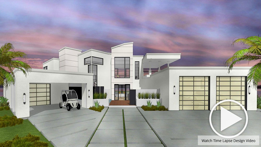 Daytime view of the Trousdale sample home project rendered in watercolor.
