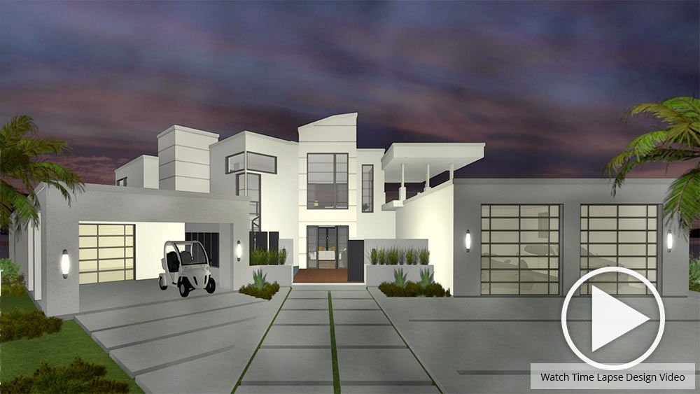 3D Rendering Of An Exterior Home Design At Night