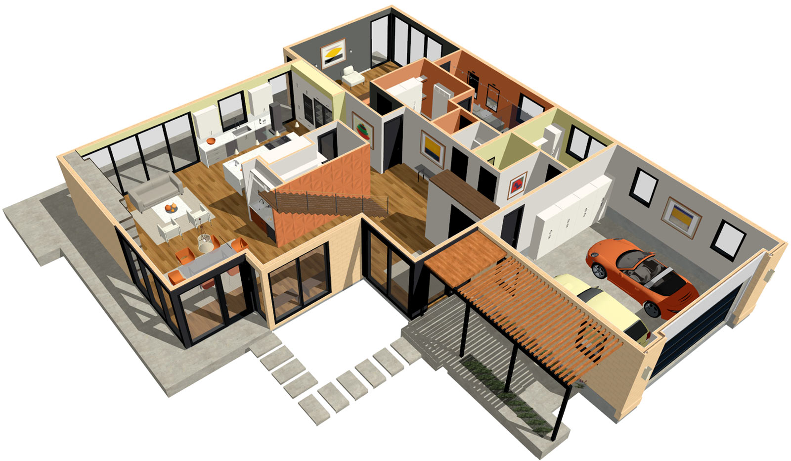 modern home with 3d dollhouse overview - Home Architecture Design