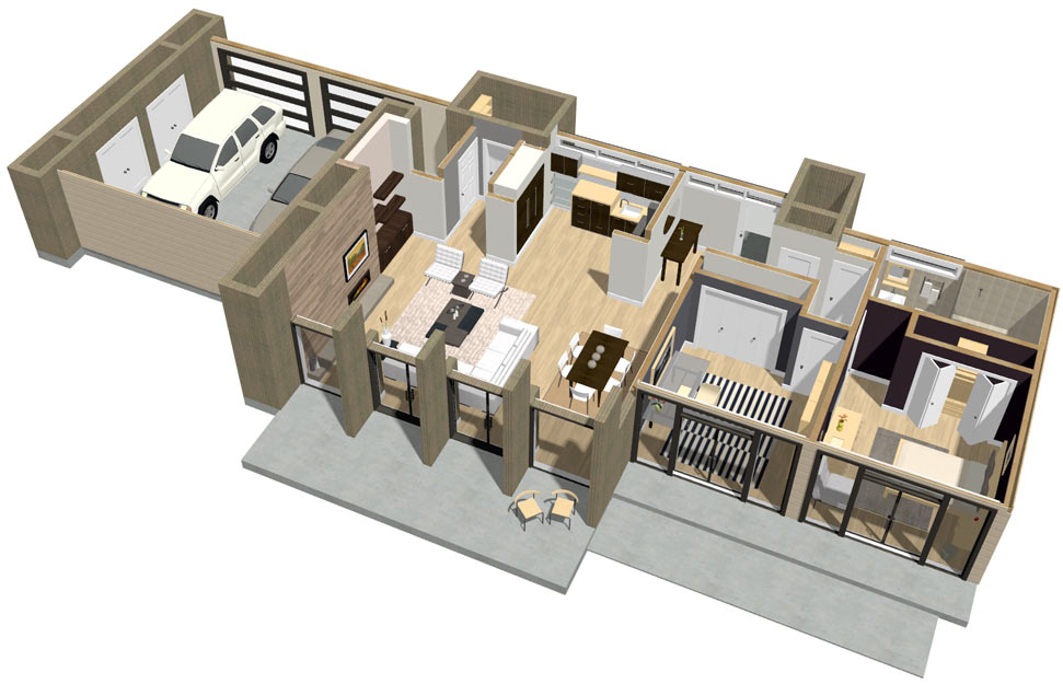 Gentil Modern 3D Floor Plan Dollhouse Overview