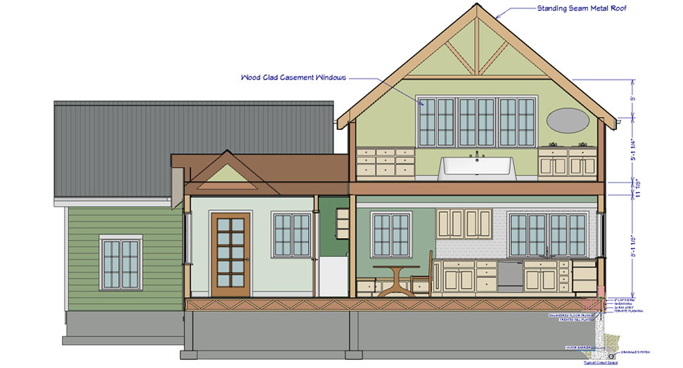 cross section view with construction details - Home Designer