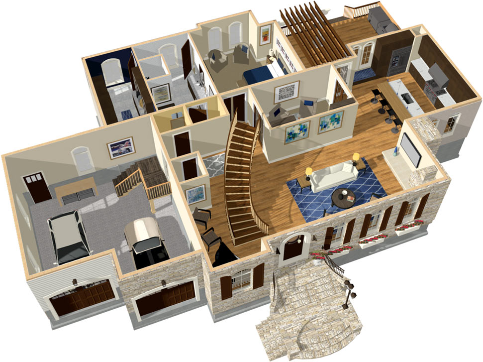 dollhouse overview with curved stairs - Home Design Picture