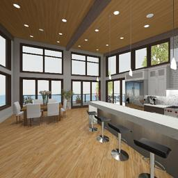 An interior rendering of the Breckenridge kitchen.