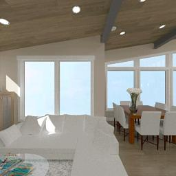 An interior rendering of the Breckenridge living room.