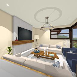 Contemporary Tropics family room 360° panorama