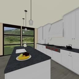 Contemporary Tropics kitchen 360° panorama