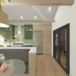 Green Bubble tile kitchen interior.