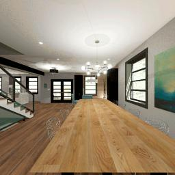 Interior render from the first floor of the Highland design.