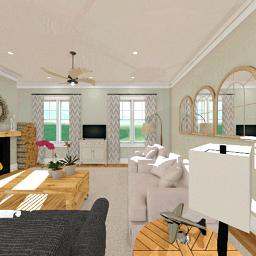 Interior rendering of a junction between the living room and the dining room.