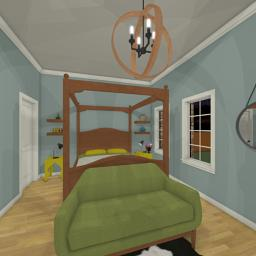 Quintessential Brick House bedroom 360° panorama