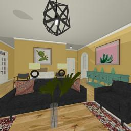 Quintessential Brick House family room 360° panorama