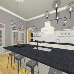 Quintessential Brick House kitchen 360° panorama