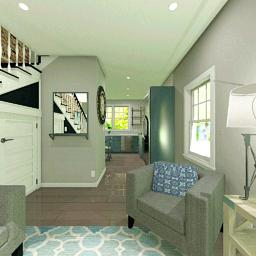 Interior rendering of the Townhouse living room.