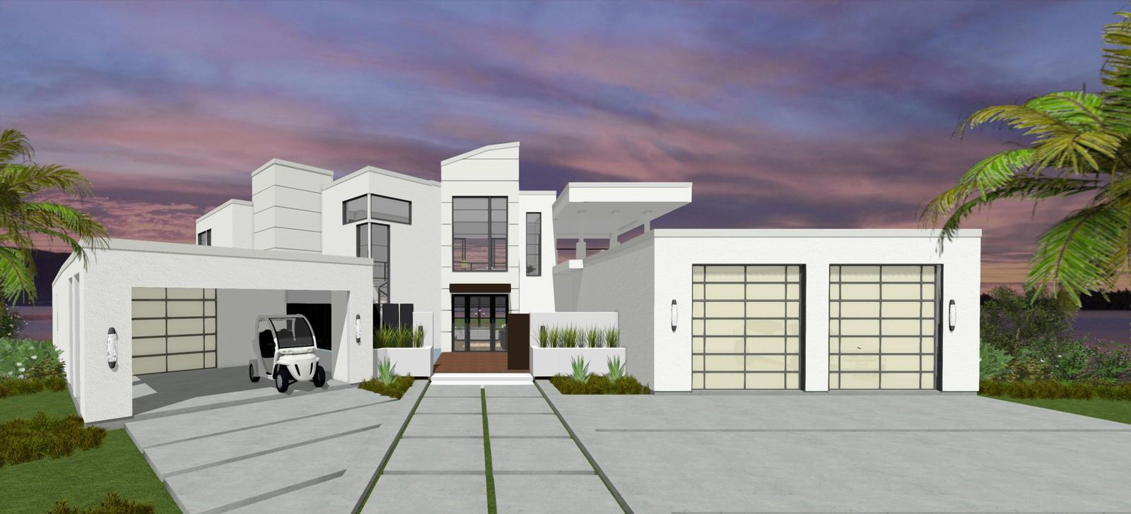 An exterior rendering of the Trousdale home.