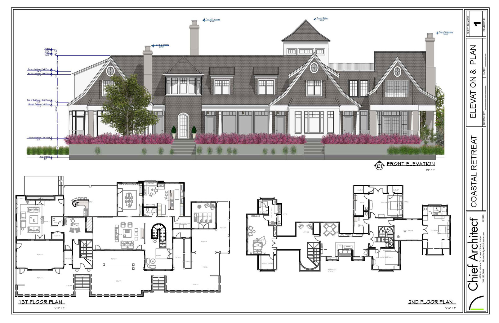Layout sheet with a front elevation and two floor plan views.