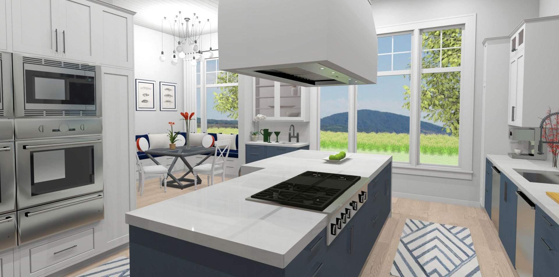 A kitchen interior with an island and range hood.