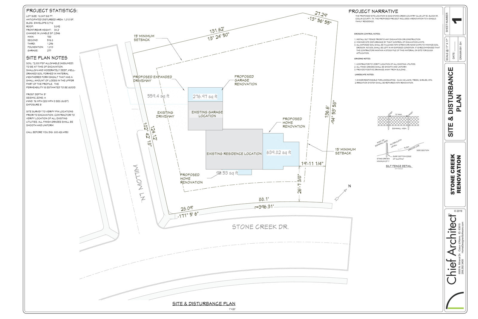 A site and disturbance plan for the Stone Creek renovation.