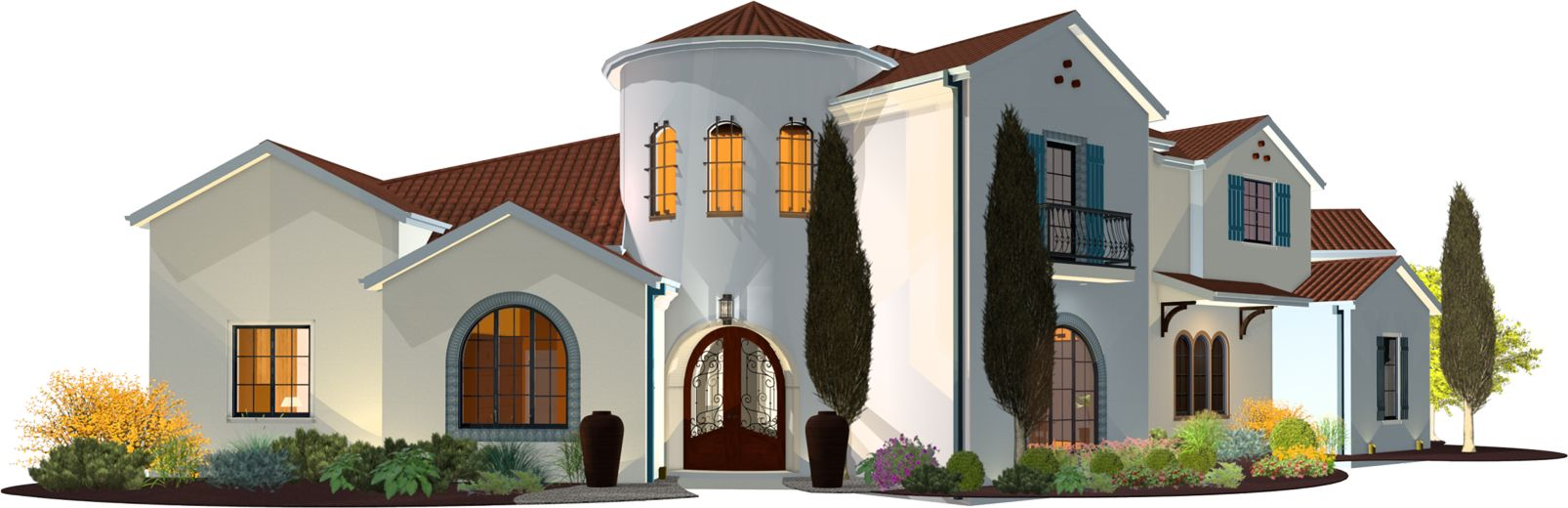 An exterior render of a Mediterranean style home.