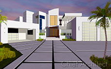 Physically based render of a white modern house exterior with concrete walkway and driveways at sunset.