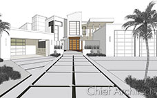 Technical illustration rendering features black and white line drawing with orange front door, palm trees and modern exterior.