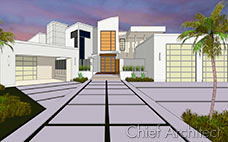 vector view rendering of two story large house with white walls and three garage doors, palm trees and large windows
